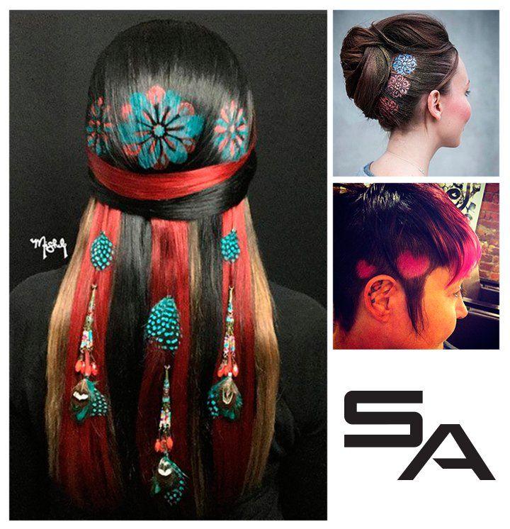 Летний #тренд: разноцветные картины на волосах Цветы, звезды, сердечки, геометрические фигуры, пейзажи – все что только может позволить ваша фантазия! Возможно, лучше не использовать краску для такого образа, а запастись цветными баллончиками для волос, которые смоются за 2−3 раза.  #hair #волосы #красота #прическа #длинныеволосы #красивыеволосы #девушка #укладка #окрашивание #стиль #hairstyle #beauty #girl #прически #красиво #style #fashion #hairstylist #beautiful #summer #pretty…
