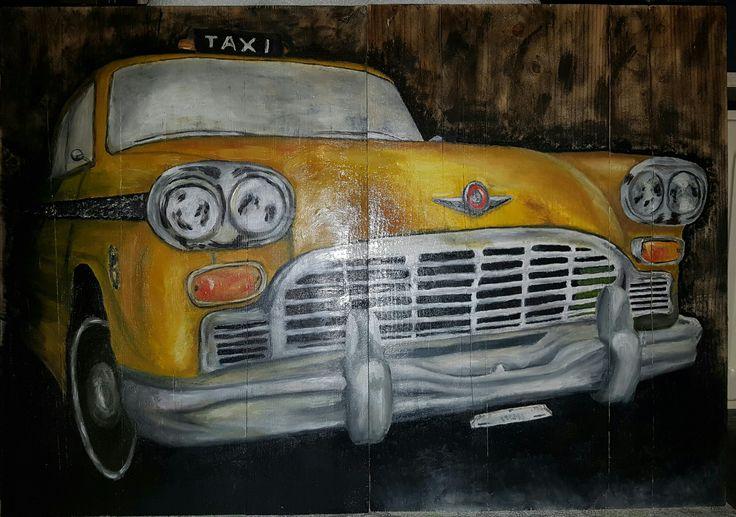 #taxi #new york #olieverf #steigerhout