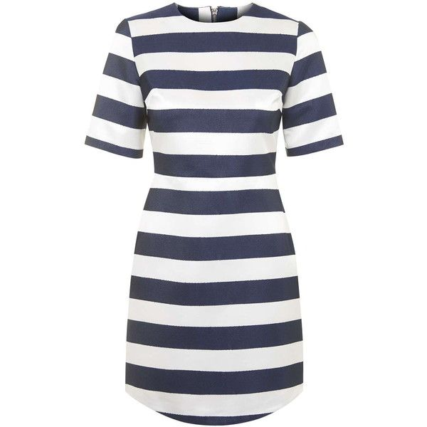 TOPSHOP Satin Stripe A-Line Dress ($115) ❤ liked on Polyvore featuring dresses, vestidos, navy blue, navy striped dress, satin dress, stripe dress, topshop dresses and a line dress