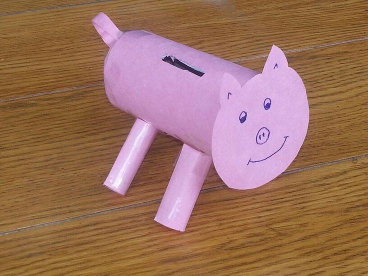 Toilet paper roll piggy bank craft corner pinterest for Make a piggy bank craft