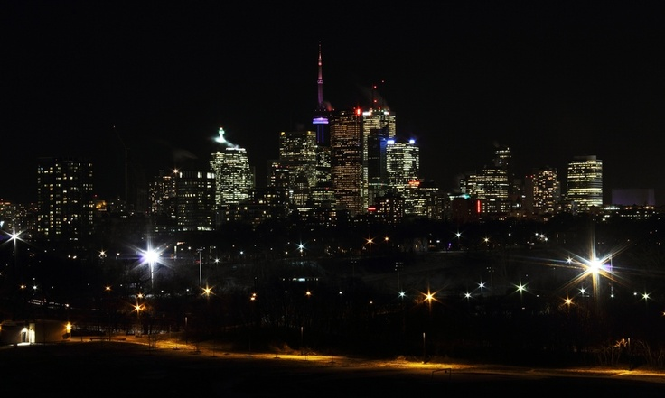 View of downtown across Riverdale Park. Sat outside in -10°C for about half and hour last night to get this one!