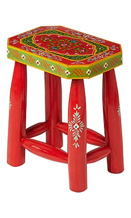 Painted Stool - Red - Plümo Ltd - Sturdy little wooden stool vibrantly painted with traditional Indian floral designs. Handmade by a small Fairtrade company in India.