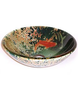 @Overstock - Add a decorative touch to your bathroom with this Asian-inspired vessel bathroom sink. The glass sink features a stylish design that resembles a Koi pond, complete with fish and flowers.          http://www.overstock.com/Home-Garden/Fontaine-Koi-and-Lily-Pond-Glass-Vessel-Bathroom-Sink/1151000/product.html?CID=214117 $134.13