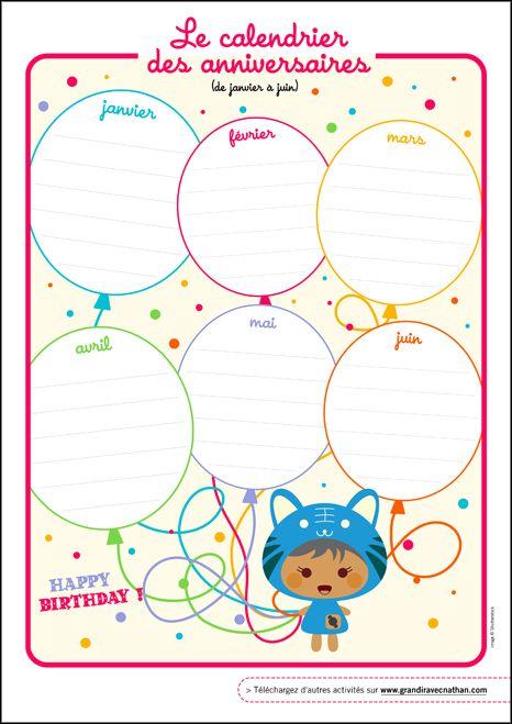 Le calendrier des anniversaires, activités pour les enfants - Grandir avec Nathan