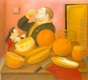 Ma Drinking Orange Juice 1987  by Fernando Botero