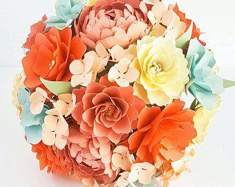 Bouquet - papier fleur Bouquet - Bouquet de mariage - nuances de corail avec une touche d'Ivoire - fait sur mesure - n'importe quelle couleur de papier