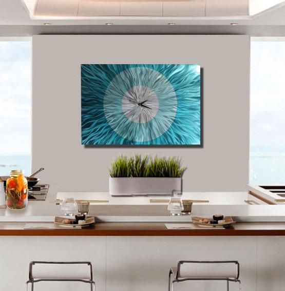 Contemporary Kitchen Decor - Large Metal Wall Clock