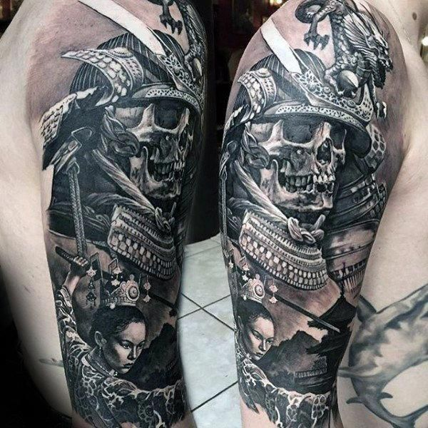 Realistic 3d Mens Samurai Helmet Skull Half Sleeve Tattoo Greatsleevetattoos Sleeve Tattoos Samurai Helmet Half Sleeve Tattoo