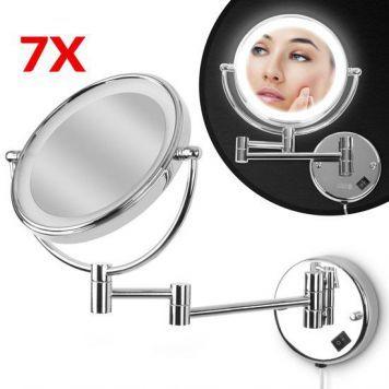 Kosmetikspiegel 7fach Zoom mit LED Beleuchtung von aquamarin®, in silber