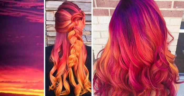Nueva moda llena de color para mujeres llamada cabello atardecer, que trata de teñir el cabello con los colores del atardecer
