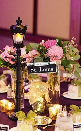 Sprinkle a little New Orleans in your wedding reception with street sign centerpieces