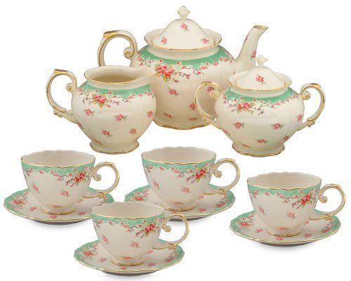 Gracie China Vintage Green Rose Porcelain 11-Piece Tea Set, Green Coastline Imports,http://www.amazon.com/dp/B004PGM3B4/ref=cm_sw_r_pi_dp_Hs-9sb09A3EJWESZ