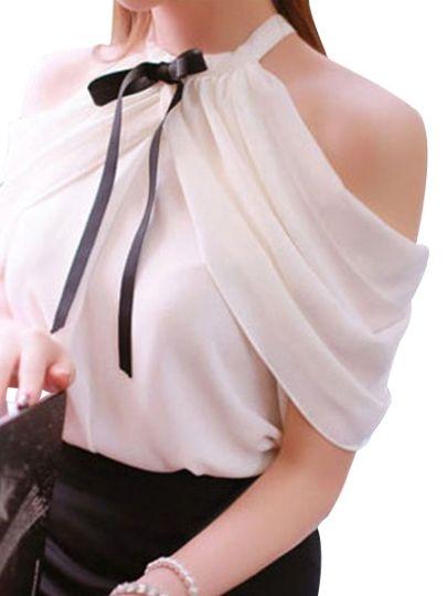 Solid Color Off-Shoulder Women's Chiffon Blouse