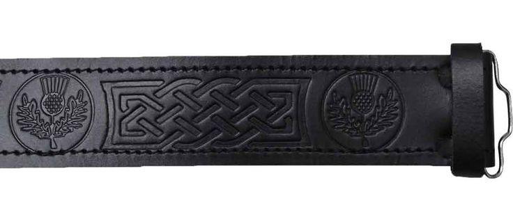 Scottish Highland Black Embossed Thistle,  Leather Kilt Belts #AllSafe #BeltKilt