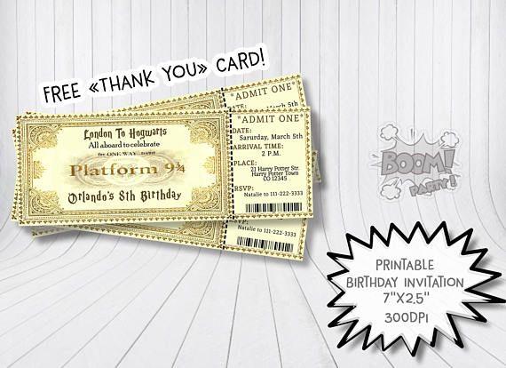 Invitación de cumpleaños de Harry Potter ticket de invitación