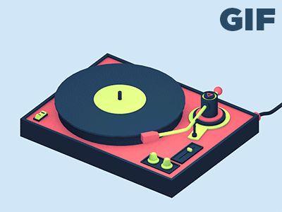 [Animated] Neon Record Player by Michael Shillingburg