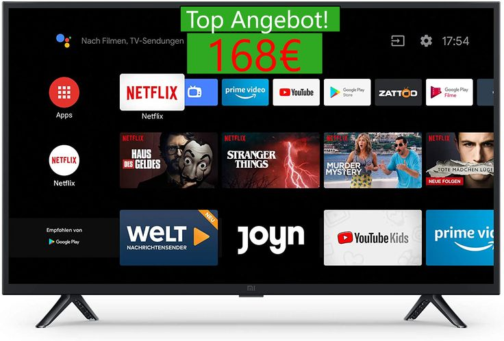 Xiaomi Mi Smart Tv 4a 32 Hd Led Smart Tv Android Tv 9 0 168 99 Angebot Android Tv Led Fernseher Fernbedienung