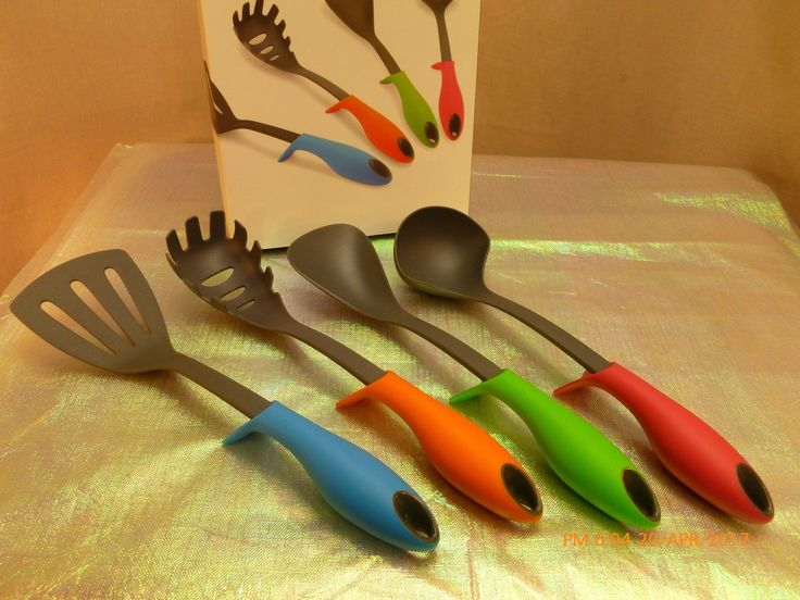 NIB Pro Cook Built in Stand Kitchen Cooking Utensils Set 4 Strong Nylon Tools