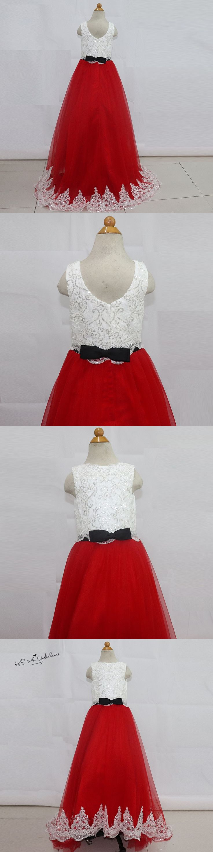 Robe de Soiree Enfant Fille White Red Sequined Lace Kids Evening Gowns Holy Communion Dresses Kids Beauty Pageant Prom Dress