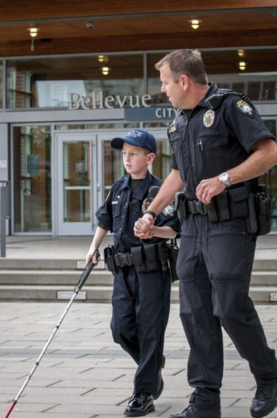 Thankful to the police officers who made blind 13-year-old Gage Hancock-Stevens' dream of being a cop come true.  Hero's!