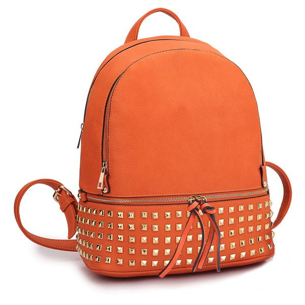Women's Amphora handbag MMK Collection Vegan Leather Studded Backpack... (€28) ❤ liked on Polyvore featuring bags, backpacks, orange, faux leather studded backpack, studded backpacks, red backpack, vegan laptop bag and laptop bag