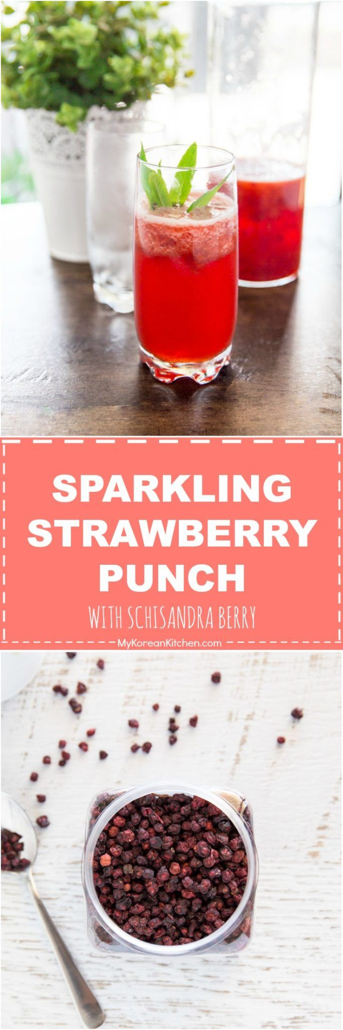 Delicious, exotic and non alcoholic punch recipe. Sparkling Strawberry Punch with Schisandra Berry | MyKoreanKitchen.com via @mykoreankitchen