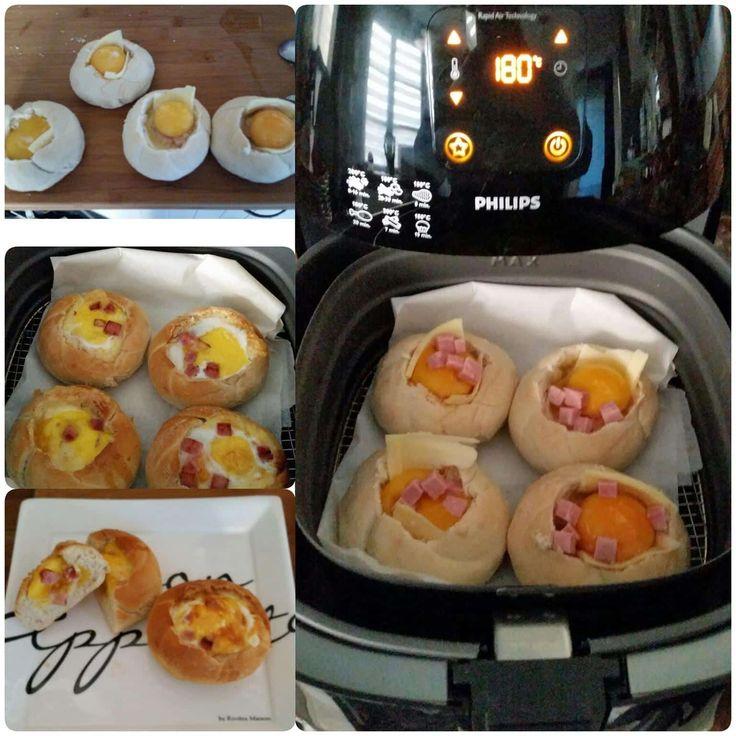 Een heerlijke uitsmijter bereidt in een kaiserbroodje. Snel en gemakkelijk te maken met de Airfryer.