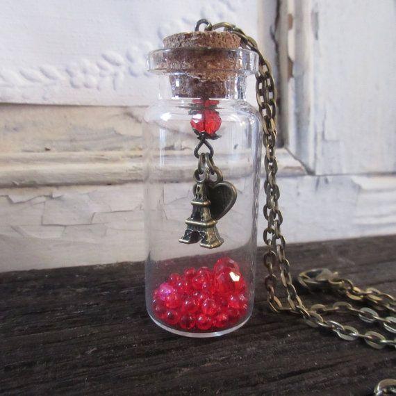 Collana della Torre Eiffel, Parigi Francia fascino collana bottiglia, regalo donne anniversario, compleanno di ragazze adolescenti, gioielli romantici, europea, bronzo antico