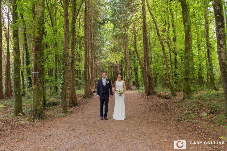 Catherine & Martin in Ballybeg Woods Ennis on their  Wedding day. Clare, Ireland, Weddingdress