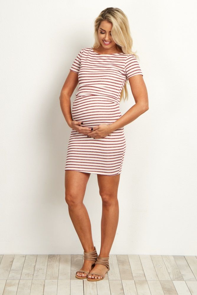 Ivory Burgundy Striped Fitted Short Sleeve Maternity Dress