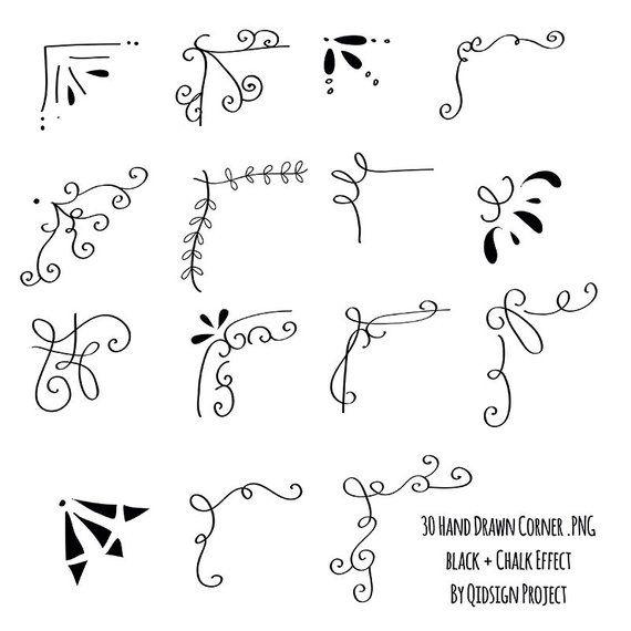 30 disegnati a mano angolo clipart gesso e nero Scrapbook abbellire uso commerciale di grafica invito lavagna Blog – Kaelynn Styles