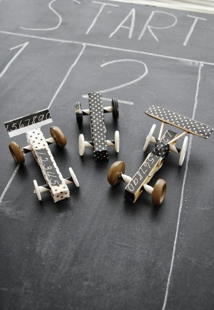DIY racing cars with clothespins, buttons and tape