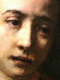 Lucretia (detail), 1666, by Rembrandt van Rijn (Dutch, 1606–1669).