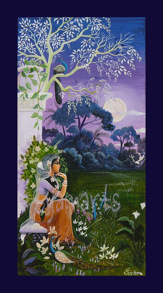 full moon night Radharani gopi awaits Krishna by Syam by syamarts