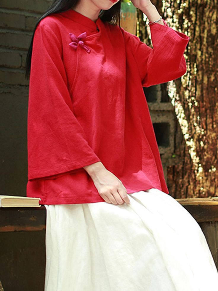 Pure Color Flare Sleeve Cotton Blouse at Banggood women fashion