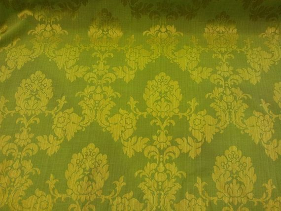Lime Green Madagascar DAMASK heavy Upholstery by TheFabricShopUK