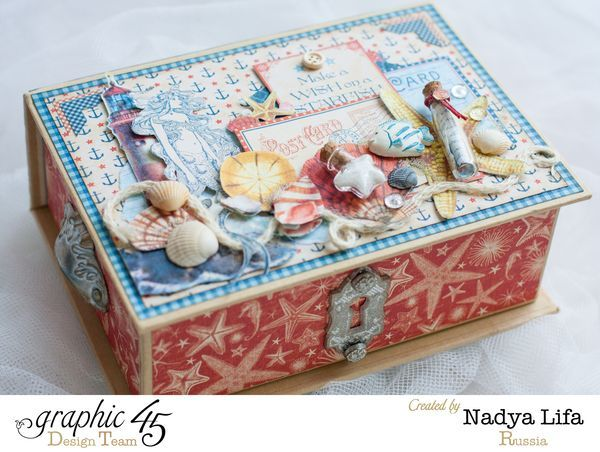 By the Sea Book Box by Nadya for your shells and stones you collect on your adventures #graphic45 #alteredart