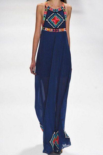Style Bohême Off-The-épaule robe col rond imprimé femmes