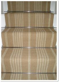 Jute Stair Carpet Runner With Bars. Would Do In Plain With Chunky Brass Bar