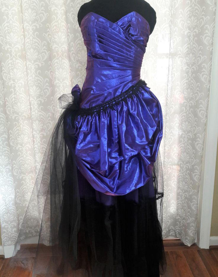 Purple Steampunk Prom Dress, Purple and Black Goth Prom Dress, Upcycled Prom Dress, Unique Prom Dress, Special Occasion Dress by OnceAndFutureApparel on Etsy