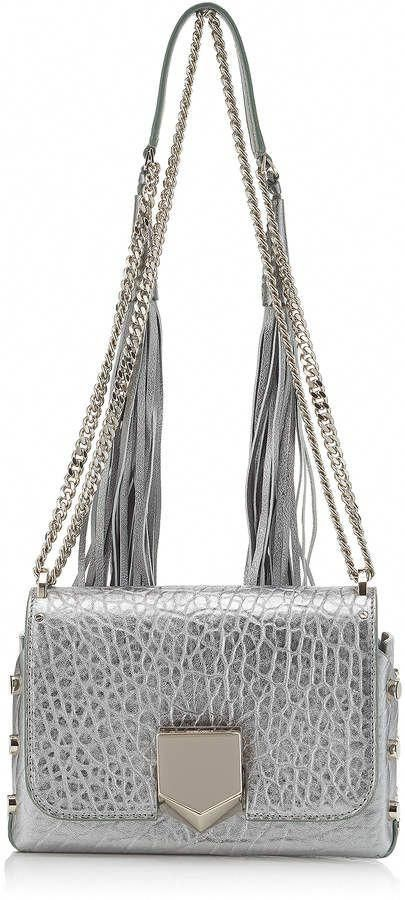 64506ac84c9a7 Jimmy Choo LOCKETT PETITE Platnum Metallic Grainy Leather Shoulder Bag with  Tassel Shoulder Strap  leatherhandbags