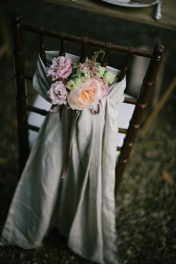Chair and Pink Bridesmaid Dresses