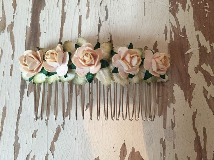 Dusty Peach Paper Flower Roses Hair Comb by SunshinePieCreations on Etsy https://www.etsy.com/listing/262593247/dusty-peach-paper-flower-roses-hair-comb