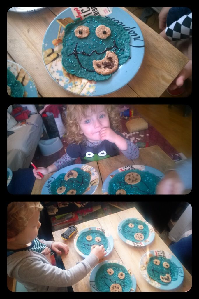 Cookie monster pancake breakfast. *Omnomnomnom* Ingredients: Homemade whole grain wheat pancake batter, blue colouring, blue sprinkles, pure chocolate and chocolate icing.