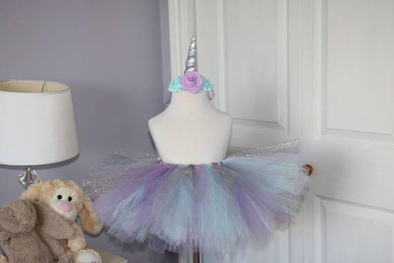 Unicorn tutu and headband  aqua and lavender tutu  Unicorn tutu, unicorn headband, baby tutu, lavender and aqua tutu, baby tutu and headband