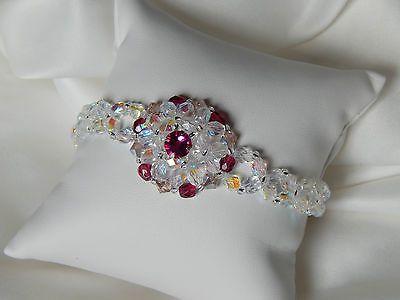 bracelet chic cristal swarovski fushia et facettes de verre bohème blanc ab  €10