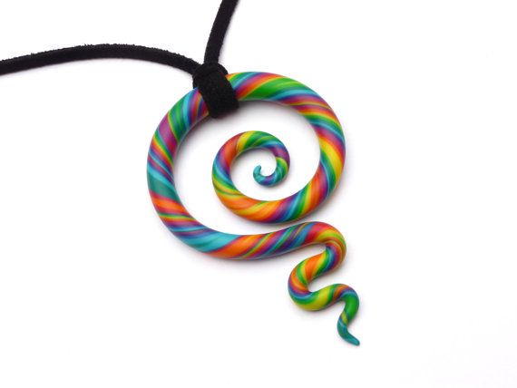 Meaningful necklace - Koru  swirl - RAINBOW - New Zealand Koru - Fimo - Polymer Clay - Maori Symbol - Fimo Jewelry
