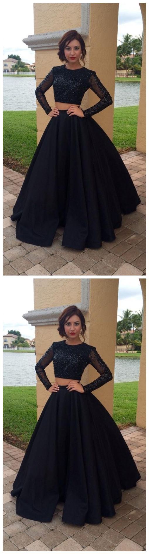 Long Sleeves Black Two Pieces Prom Dresses For Teens,Modest Prom Gowns,Charming Evening Dresses,Women Dresses,Plus Size Prom Dress,Party Dresses