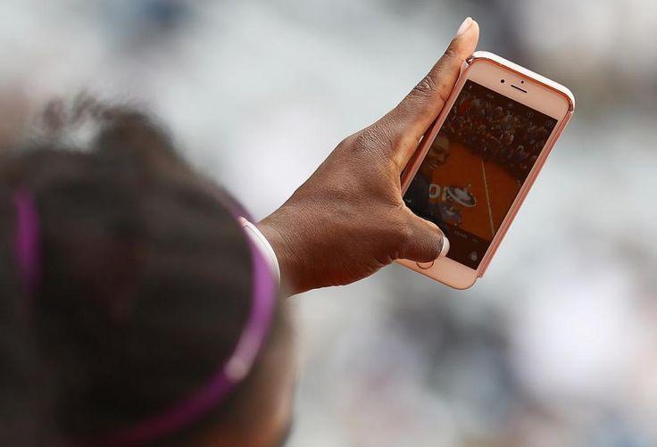 Serana Williams  takes a selfie after winning against Madison Keys -Rome Italia 2016