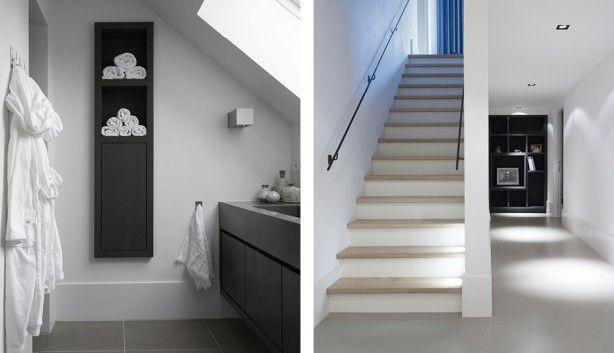 Witte trap met eiken houten treden mooie site trouwens met mooie ideeen beeld pinterest - Witte houten trap ...
